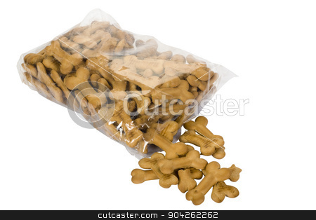 pims_20090629_as0663.jpg stock photo, Close-up of a torn packet of dog biscuits by imagedb