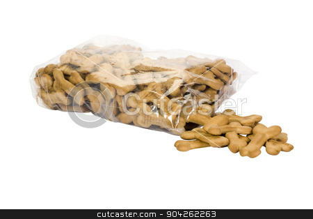 pims_20090629_as0664.jpg stock photo, Close-up of a torn packet of dog biscuits by imagedb
