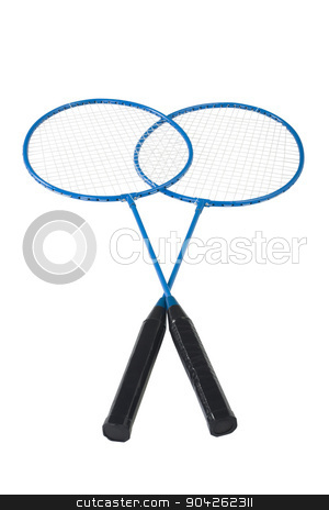 pims_20090629_as0850.jpg stock photo, Close-up of two badminton rackets by imagedb