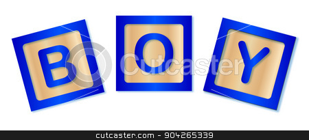 Boy Blocks stock vector clipart, Wooden blocks spelling out the word boy by Kotto