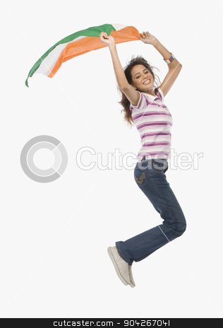 pims_20091216_sh0457.JPG stock photo, Portrait of a woman jumping with an Indian flag by imagedb