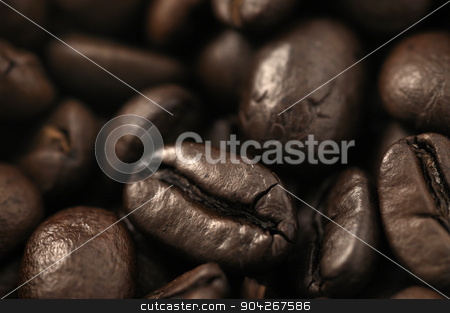 Roasted coffee beans stock photo, Close up of roasted coffee beans. Coffee background, texture by dani3315
