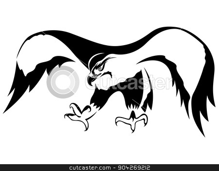 Attacking Hawk With Wide Wings Stock Vector