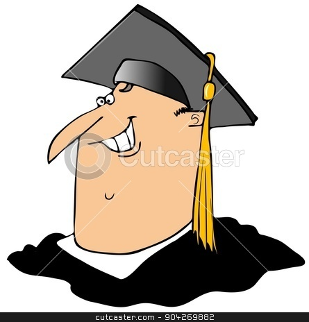Graduate stock photo, This illustration depicts a man wearing a mortar board with a gold tassel. by Dennis Cox