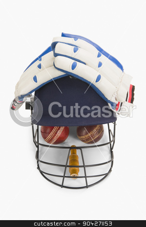 pims_20100108_as0221.JPG stock photo, Cricket equipment forming a human face by imagedb