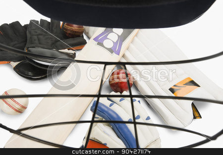 pims_20100108_as0266.JPG stock photo, Cricket equipment viewed through a sports helmet by imagedb