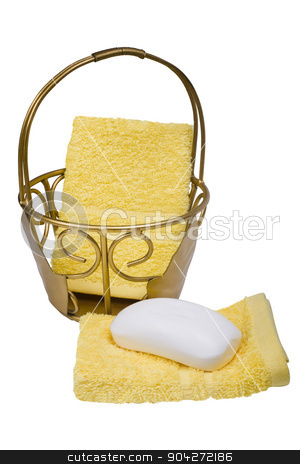 pims_20090627_as0292.JPG stock photo, Close-up of bar of soap with towels and a basket by imagedb