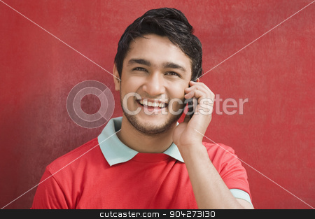 pims_20091217_sa0128.jpg stock photo, Portrait of a man talking on a mobile phone by imagedb