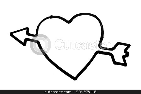 pims_20090720_as0591.jpg stock photo, Outline of a heart with arrow by imagedb
