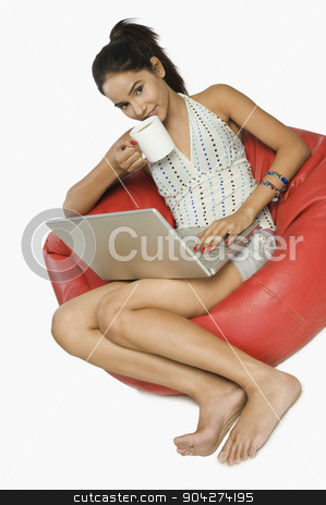 pims_20091109_rc0048.JPG stock photo, Woman using a laptop with a cup of coffee by imagedb