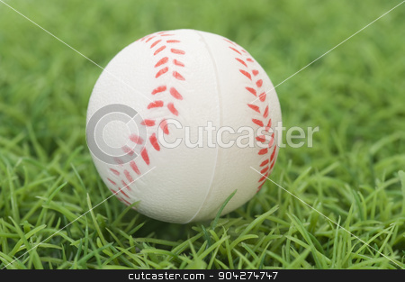 pims_20100126_as0417.jpg stock photo, Close-up of a baseball on grass by imagedb