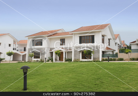 pims_20100610_as0039.jpg stock photo, Lawn in front of bungalows, Bangalore, Karnataka, India by imagedb