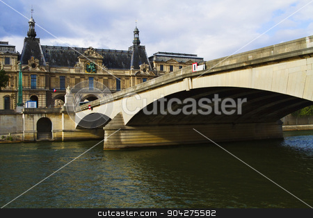 pims_20100616_ml0516.jpg stock photo, Arch bridge across the river with a palace, Luxembourg Palace, Seine River, Paris, France by imagedb