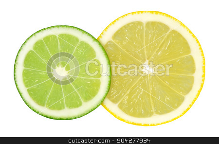 Lime and lemon stock photo, Two cut rings lime and lemon isolated on a white background.  by Maryna Zaborina