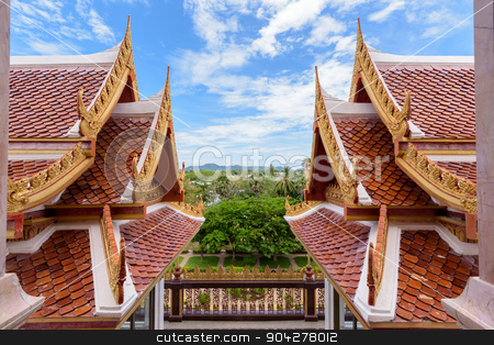 Thai style roof stock photo, Thai style ancient roof and sky in the temple, Thailand by Yongkiet