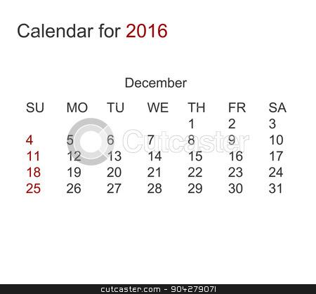 Vector modern calendar for december 2016 stock vector clipart, Vector modern calendar for december 2016 year by petr zaika