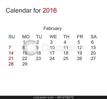 Vector modern calendar for 2016  stock vector clipart, Vector modern calendar for february 2016 year by petr zaika