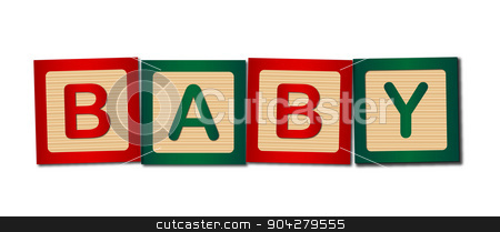 Baby Blocks stock vector clipart, Childs wooden blocks making up the word baby by Kotto