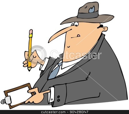 Businessman writing on a clipboard stock photo, This illustration depicts a businessman wearing a suit and hat writing on a clipboard with a pencil. by Dennis Cox