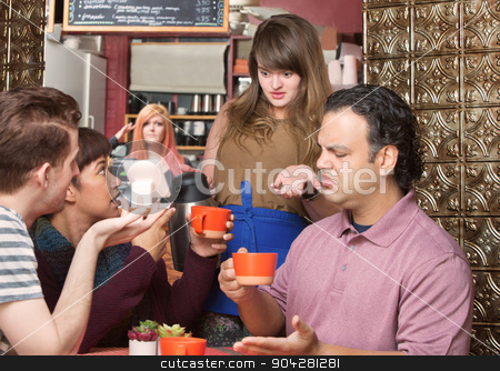 Bad Coffee stock photo, Dissatisfied customers and waitress at coffee house by Scott Griessel