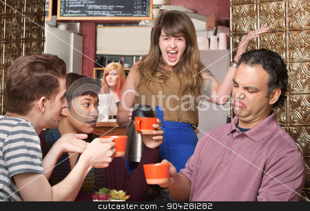 Picky Customers stock photo, Screaming waitress with picky customers in coffee house by Scott Griessel