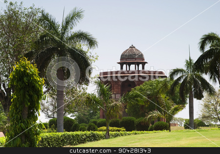 pims_20050427_xbs0213.jpg stock photo, Tower with trees in a fort, Old Fort, Delhi, India by imagedb