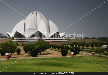 pims_20050427_xbs0340.jpg stock photo, Architectural details of a temple, Lotus Temple, New Delhi, India by imagedb