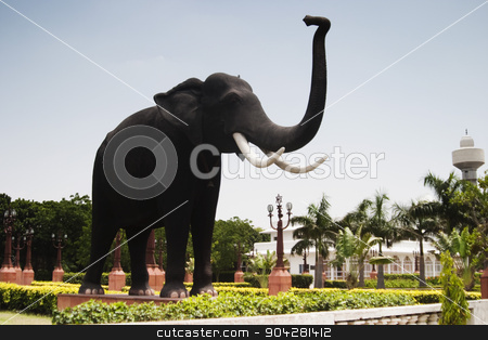 pims_20050427_xbs0492.jpg stock photo, Statue of an elephant in a park, New Delhi, India by imagedb