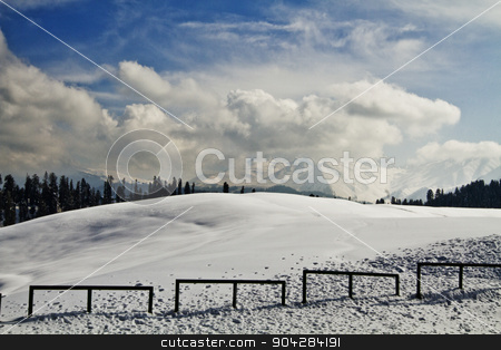 Clouds over a snow covered landscape, Kashmir, Jammu and Kashmir stock photo, Clouds over a snow covered landscape, Kashmir, Jammu and Kashmir, India by imagedb