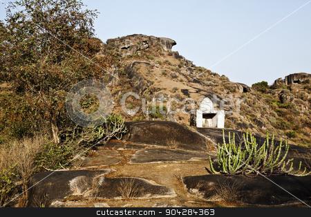 Hindu temple at Guru Shikhar, Arbuda Mountains, Mount Abu, Siroh stock photo, Hindu temple at Guru Shikhar, Arbuda Mountains, Mount Abu, Sirohi District, Rajasthan, India by imagedb
