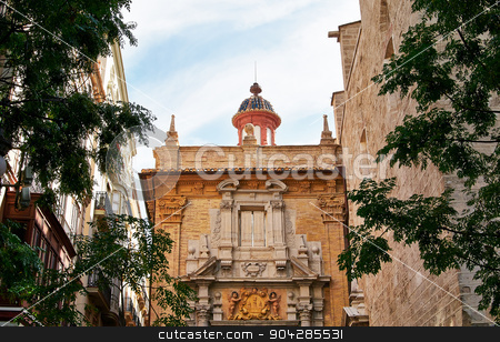 Valencia, Spain, facade of the Church. stock photo, Valencia, Spain, facade of the Church. Historic  buildings. by BELL1313
