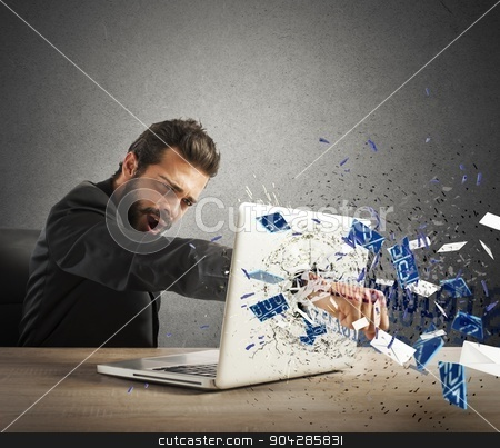 Furious businessman in office stock photo, Angry businessman breaks the pc in office by Federico Caputo