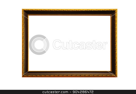 golden frame on a white background stock photo, golden frame on a white background. by timonko