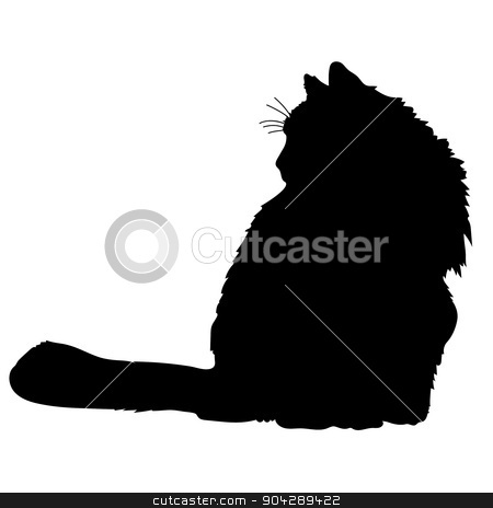 Cat Silhouette stock vector clipart, A black silhouette of a cat by Maria Bell