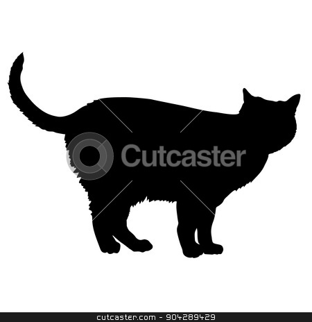 cat source silhouette 13 stock vector clipart, A black silhouette of a cat by Maria Bell