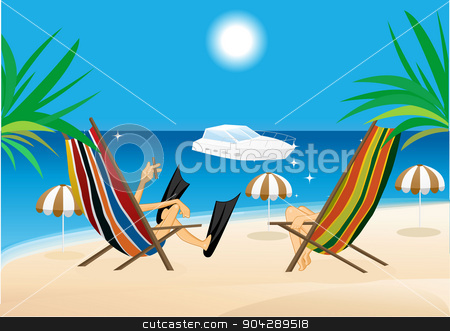 man and woman sitting in the lounge chairs stock vector clipart, vector illustration of man and woman sitting in the lounge chairs on the beach and looking at the yacht by flint01