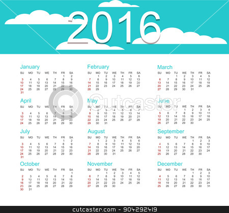 Vector calendar for 2016 year  stock vector clipart, Vector calendar for 2016 year of the monkey by petr zaika