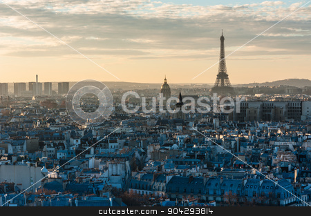 Paris from Notre-Dame stock photo, Paris sunset view from the roof of Notre-dame de Paris by LP2Studio