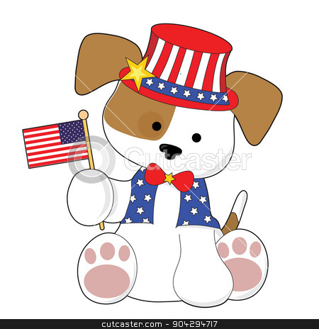 Cute Puppy Fourth of July stock photo, An adorable puppy wearing a top hat and holding the American flag. He is all ready for the Fourth of July by Maria Bell