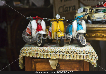 Close-up of toy scooters for sale stock photo, Close-up of toy scooters for sale, Amalfi, Province of Salerno, Campania, Italy by imagedb