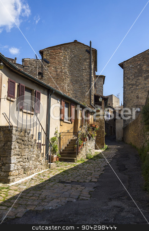 Houses in a town stock photo, Houses in a town, Volterra, Province of Pisa, Tuscany, Italy by imagedb