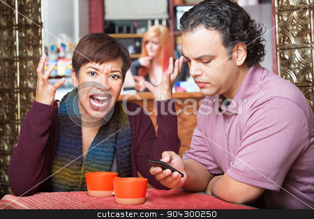 Woman Frustrated with Texting stock photo, Angry woman gesturing next to indifferent husband texting by Scott Griessel