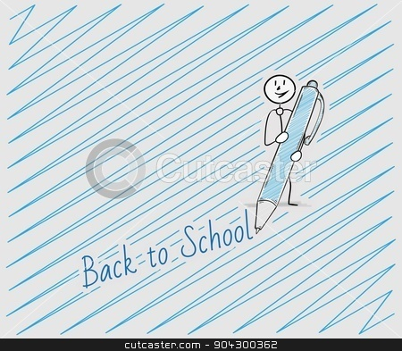 back to school with one person stock vector clipart, back to school text written by pen and one person, crosshatched image by muuraa
