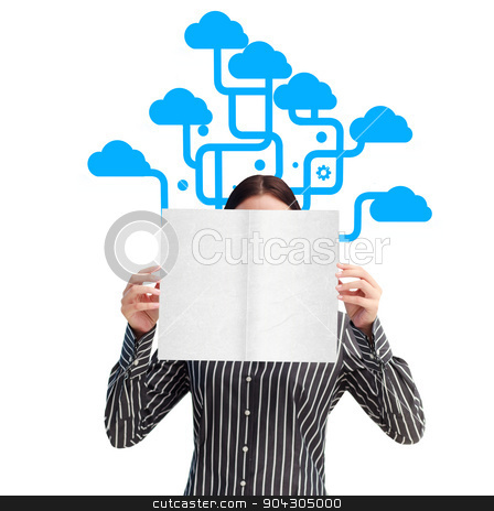 Composite image of businesswoman showing a white card in front o stock photo, Businesswoman showing a white card in front of her face against cloud computing by Wavebreak Media