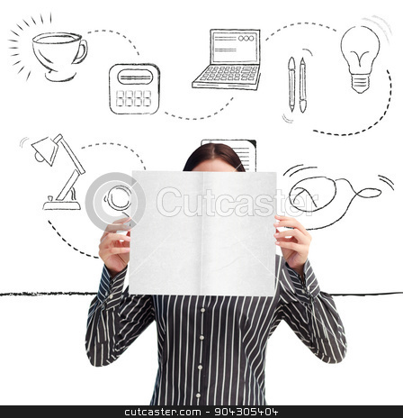 Composite image of businesswoman showing a white card in front o stock photo, Businesswoman showing a white card in front of her face against office supplies doodle by Wavebreak Media