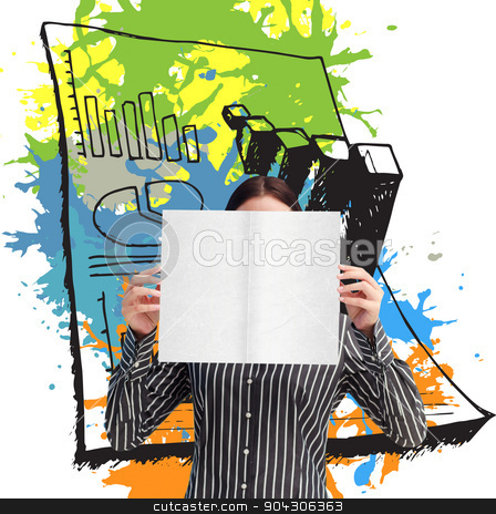 Composite image of businesswoman showing a white card in front o stock photo, Businesswoman showing a white card in front of her face against data on paint splashes by Wavebreak Media