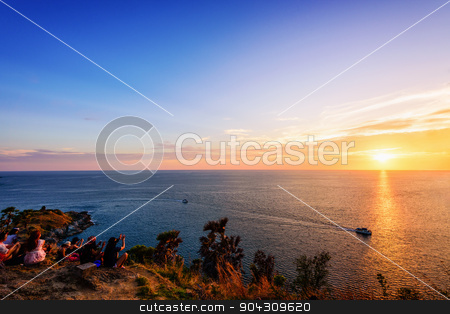 Colorful landscape beautiful sunset stock photo, Colorful landscape beautiful sunset over the island and sea at Laem Phromthep Cape scenic point is a famous attractions of Phuket Province in Thailand by Yongkiet