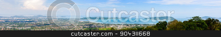 Panorama city and sea of Phuket Province stock photo, High angle view beautiful panorama landscape of Ao Chalong bay and city sea side in Phuket Province, Thailand by Yongkiet
