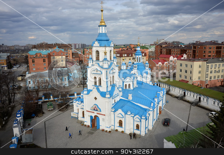 Aerial view on Znamensky Cathedral. Tyumen. Russia stock photo, Tyumen, Russia - April 19, 2015: View at city quarters with Znamensky Cathedral from helicopter by Aikon