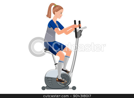 Girl and stationary bicycle. stock vector clipart, Beautiful  vector girl working out with stationary bicycle. by Alla Puzanova